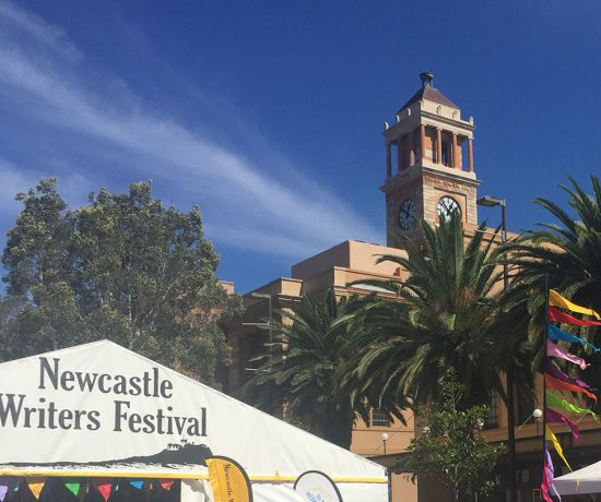 2017 Newcastle Writers Festival marquee and City Hall clock