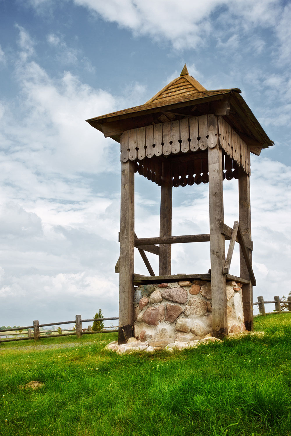 Water well on a hill