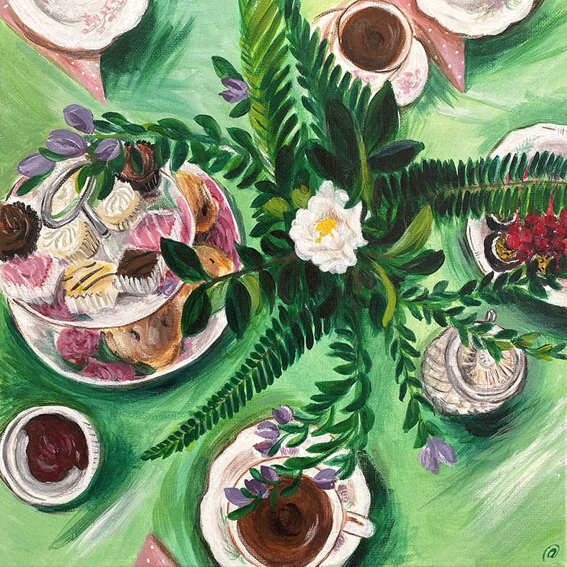 Birds-eye view painting of a table set for high tea with flowers, cups and cakes..